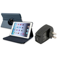 Insten iPad Mini 3/2/1 Case, by INSTEN For Apple iPad Mini 3rd 3 2nd 1 1st Gen Navy Blue Leather Case Smart Cover Stand+TC