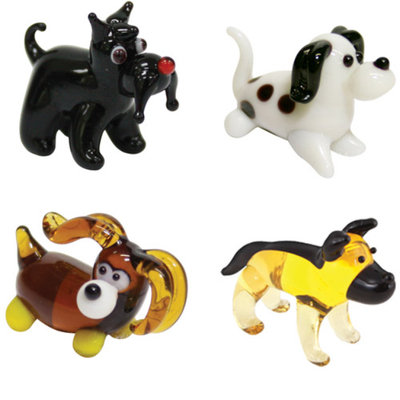 BrainStorm Looking Glass Miniature Glass Figurines, 4-Pack, Terrier/Dalmatian/Cocker Spaniel/Doberman