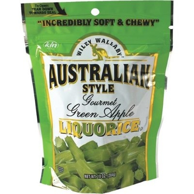 Wiley Wallaby Green Apple Licorice Candy 10 Ounce Bag Pack of 10