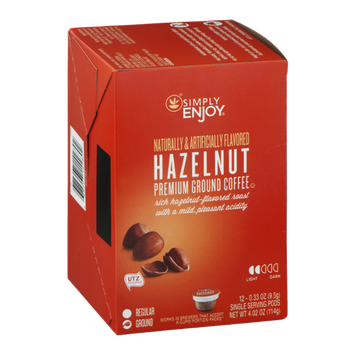 Simply Enjoy Premium Ground Coffee Single Serving Pods Hazelnut - 12 CT