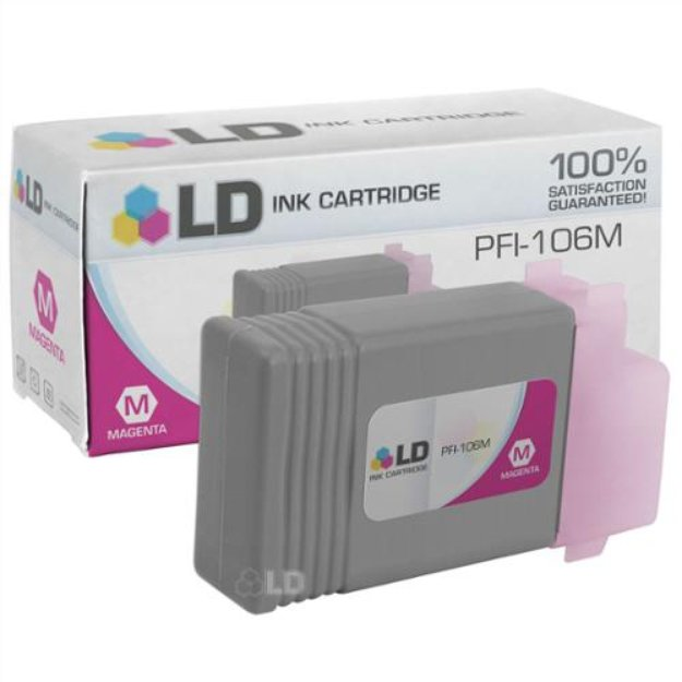 LD Compatible Replacement for Canon 6623B001AA (PFI-106M) Magenta Ink Cartridge for use in Canon ImagePROGRAF iPF6300, iPF6300S, iPF6350, iPF6400, iPF6400S, iPF6400SE, and iPF6450 Printers