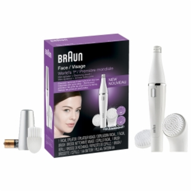 Braun Face / Visage Mini Epilator + Cleansing Brush Set (includes 1 brush refill), 1 ea
