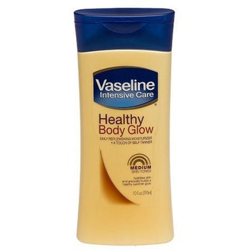 Vaseline Healthy Body Glow Daily Replenishing Moisturizer & A Touch of Self-Tanner, Medium Skin Tones, 10-Ounce Bottles (Pack of 3)