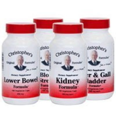 Dr Christophers Dr. Christopher's Herbal Cleansing Kit- Detox Herb Supplements: 4 Bottles Each Of: Lower Bowel Formula & Liver & Gall Bladder Formula- 2 Bottles Each of Kidney Formula & Bloodstream Formula