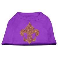 Mirage Pet Products 5231 XXLPR Gold Fleur De Lis Rhinestone Shirts Purple XXL 18