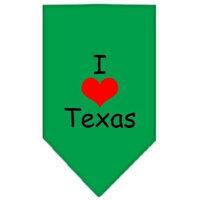 Mirage Pet Products 6637 SMEG I Heart Texas Screen Print Bandana Emerald Green Small