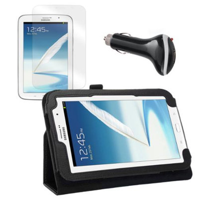 Black Folio Case with Screen Protector and Car Charger for Samsung Galaxy Note 8