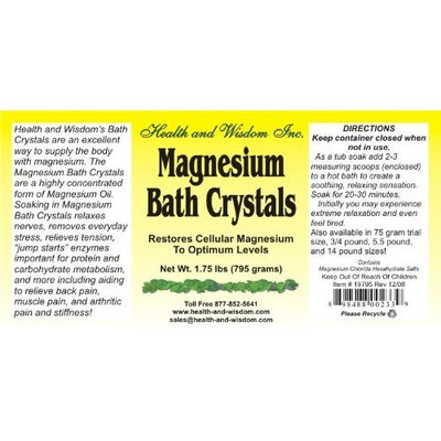 Health And Wisdom MAGNESIUM BATH CRYSTALS 1.75# UP TO 14 BATHS