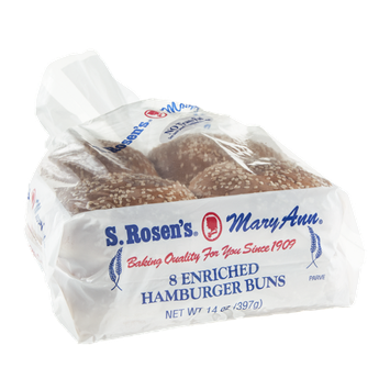 S. Rosen's Mary Ann Enriched Hamburger Buns - 8 CT