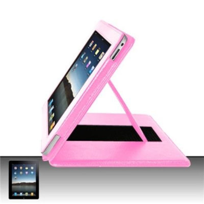 Insten INSTEN Pink Vertical Flap Pouch Cover Premium Case w/ Kick Stand Pockets For Apple iPad 1 1st
