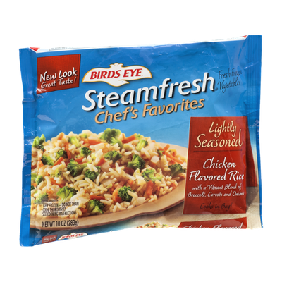 Birds Eye Steamfresh Chef's Favorites Lightly Seasoned Chicken Flavored Rice With A Vibrant Blend Of Broccoli, Carrots and Onions