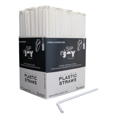 Crystalware Flexible Straws, White, Individually Wrapped Box of 400 Straws