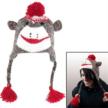 Trademark Commerce 80-1123 Adult Size Sock Monkey Knit Hat With Poly-Fleece Lining