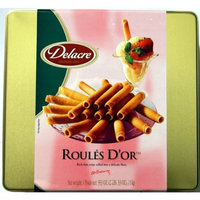 Delacre ROULES D'OR Delacre Exquisite European Biscuits ROULES D'OR Rich Thin crepe rolled into a delicate flute Tin Box Net Weight 35.3 OZ (1000 g)