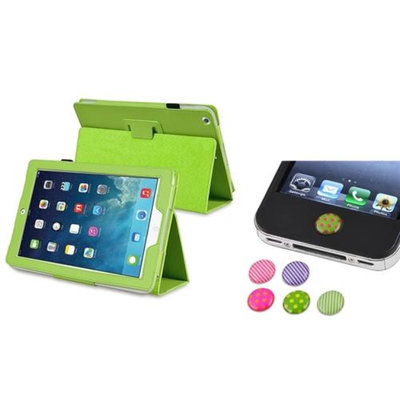 Insten INSTEN Green PU Leather Case Stand Cover+Home Stickers For Apple iPad Air 5 5th Gen