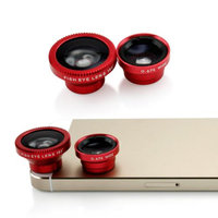 Universal Phone kit Fisheye Fish Eye and Micro Smartphone Camera Mobile Cell Phone Lens - Red