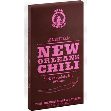 Wild Ophelia All Natural New Orleans Chili Dark Chocolate Bar 2.0 Ounce (Pack of 12)