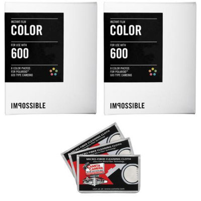 Impossible PRD2785 Color Instant Film x2 with 3 Microfiber Cleaning Cloths