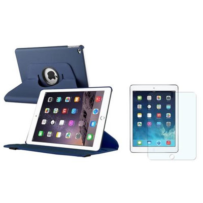 Insten iPad Air 2 Case, by INSTEN Navy Blue 360 Rotating Stand Leather Pouch + Anti-Glare Protector for Apple iPad Air 2nd Gen