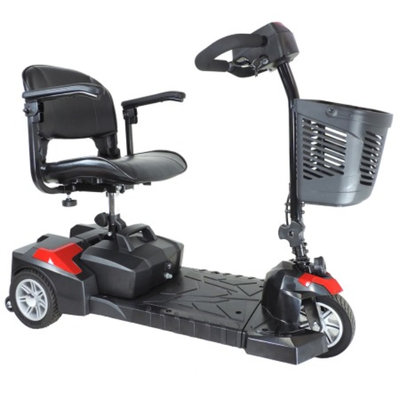 Drive Medical Spitfire Scout DLX 3 Wheel Compact Travel Scooter, Black, 16.5 Inch Seat, 1 ea