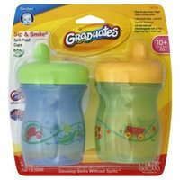 NUK Gerber Graduates BPA Free 2 Pack Sip and Smile Spill Proof Cup, 7 Ounce, Blue/Green