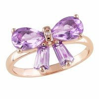Amour Plated Silver Dimaond & Amethyst Ring, 8, Pink, Purple, White, 1 ea