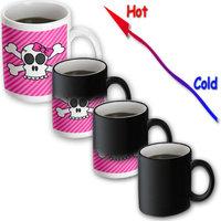 Recaro North 3dRose - Janna Salak Designs Gothic - Cute Pink Goth Punk Skull and Crossbones Girl - 11 oz Transforming mug