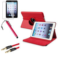 Insten iPad Mini 3/2/1 Case, by INSTEN Red 360 Leather Case Cover+LCD+Stylus+Cable for iPad Mini 3 2 1