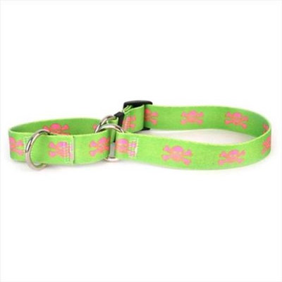 Yellow Dog Design M-GPS103L Green and Pink Skulls Martingale Collar - Large