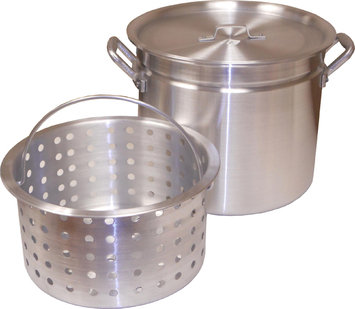 King Kooker 100 Qt. Boiling Pot with Steamer Rim, Lid, and Punched Aluminum Basket