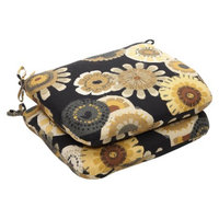 Pillow Perfect Outdoor 2-Piece Chair Cushion Set - Black/Yellow Floral