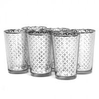 Koyal Wholesale 403360 Lattice Votive Cup Silver - 4 in.