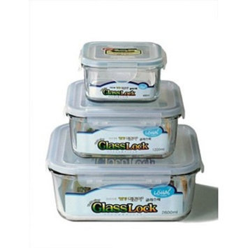 Kinetic Go Green GlassLock Square 3 Piece Storage Container Set
