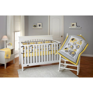 Little Bedding by NoJo Elephant Time 4-Piece Crib Bedding Set, Yellow