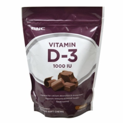 GNC Vitamin D-3 1000IU Soft Chews, Chocolate, 60 ea