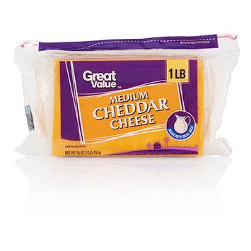Great Value Medium Cheddar Cheese, 16 oz