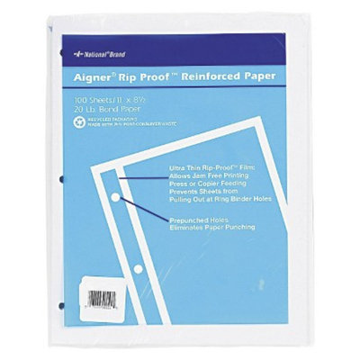 National Brand 11 x 8-1/2 Rip Proof 20-lb, Reinforced Filler Paper,