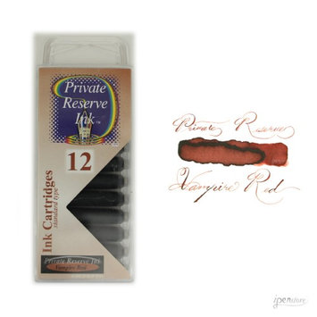 Pack/12 Private Reserve Fountain Pen Ink Cartridges, Vampire Red