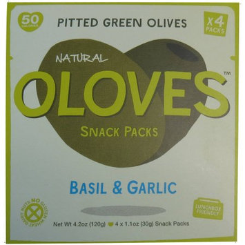 Oloves Basil & Garlic Pitted Green Olives Snack Packs, 1.1 oz, 4 count