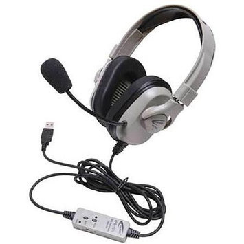 Ergoguys Califone Titanium Series Headphone with Cord - Stereo - USB - Wired - 50 Ohm - 20 Hz - 20 kHz - Over-the-head - Binaural - Ear-cup - 6 ft Cable - Noise Reduction Microphone
