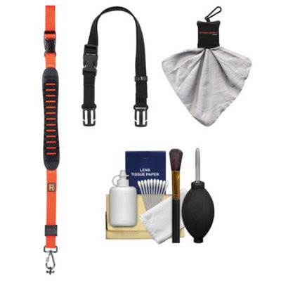 BlackRapid Cross Shot Sling Camera Strap (Orange) with BlackRapid BRAD Mod + Cleaning & Accessory Kit