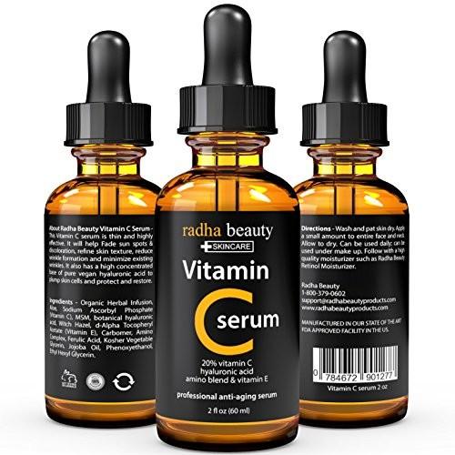 VITAMIN C Serum for Face - 2 fl. oz - 20% Organic Vit C + E + Vegan Hyaluronic Acid - Professional Facial Skin Care Formula - Radha Beauty