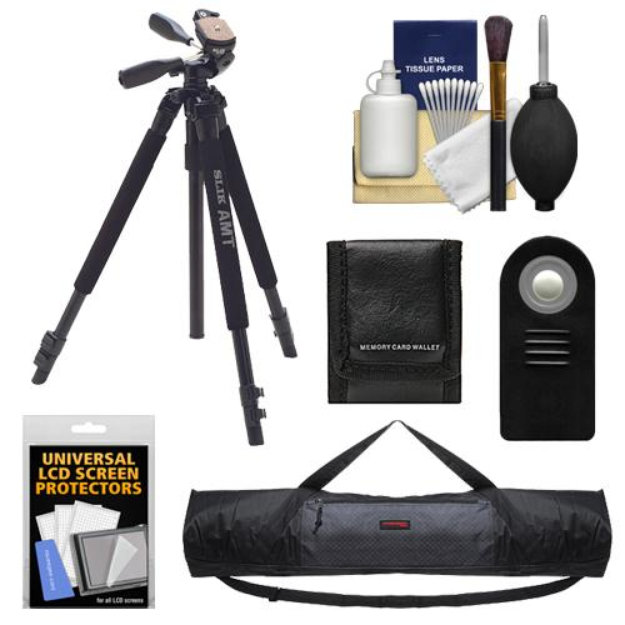 Slik 330 DX Pro Series Black Tripod 3Way Pan/Tilt Head & Quick Release with Tripod Case + RC-6 Remote + Accessory Kit for Canon Rebel T2i, T3i, T4i, EOS 60D, 6D, & 7D Digital SLR Cameras