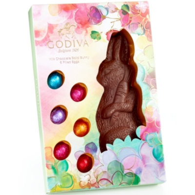 Godiva Chocolatier Milk Chocolate Bunny with Foil Wrapped Eggs