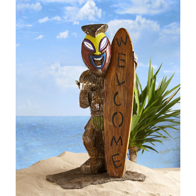 Global Surplus Inc. Garden Oasis Friki Tiki 25in Statue with Welcome Surfboard - GLOBAL SURPLUS INC.