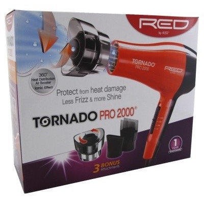 Kiss Red Dryer 2000 Watt With 3 Attachments Tornado