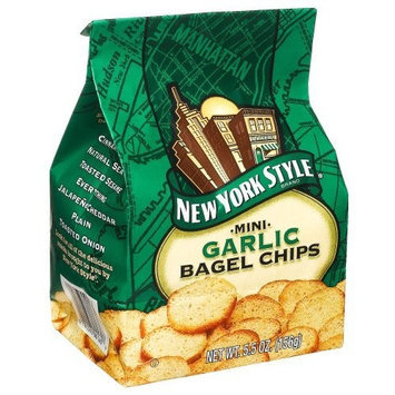 New York Style York Style Mini Bagel Chips Garlic, 5.5-Ounce Packages (Pack of 12)