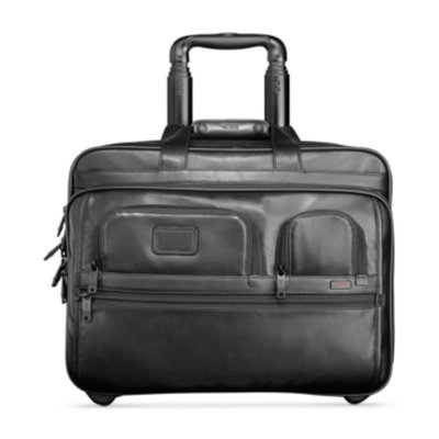 Tumi Alpha Leather Deluxe Wheeled Leather Brief with