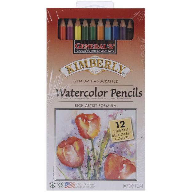 General Pencil Company GENERAL PENCIL Kimberly Watercolor Pencils, 12/Pkg, Assorted Colors