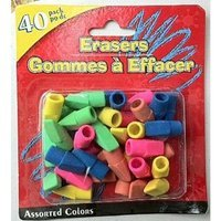 40 Erasers in Assorted Colors Fits on Your Pencil By Greenbrier International,